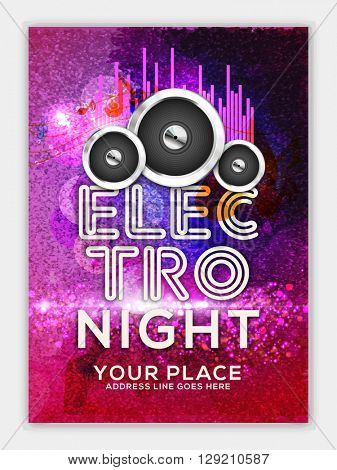 Creative colorful Template, Banner or Flyer design with illustration of glossy speakers for Electro Night, Musical Party celebration.