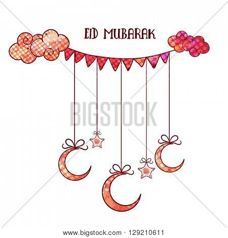 Elegant greeting card design decorated with creative Moons and Stars hanging by party flags for Muslim Community Festival, Eid Mubarak celebration.