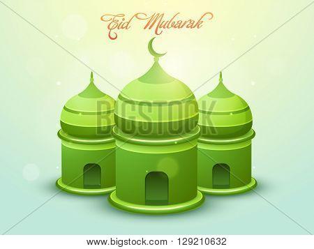 Glossy creative green Mosque on shiny background for Muslim Community Festival, Eid Mubarak celebrat
