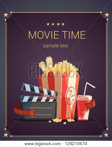 Movie time cartoon poster with popcorn cola and tickets vector illustration