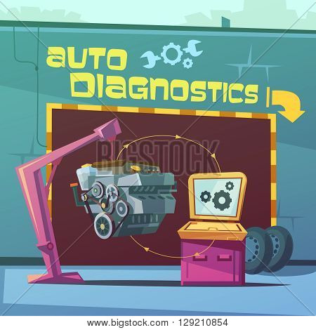 Auto diagnostics cartoon background with equipment and spare parts vector illustration