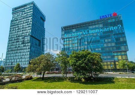Zagreb, Croatia, May 8th 2016: Modern business tower in Vukovarska street in Zagreb, Croatia, headquarter of Zagreb stock exchange