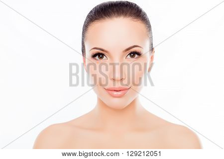Portrait Of Young Beatiful Smiling Woman With Sensitive Skin