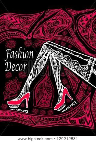 Concept fashion decoration with  Zen-doodle Zen-tangle  pattern red on black for wallpaper or for decorate package clothes or advertising fashion shop