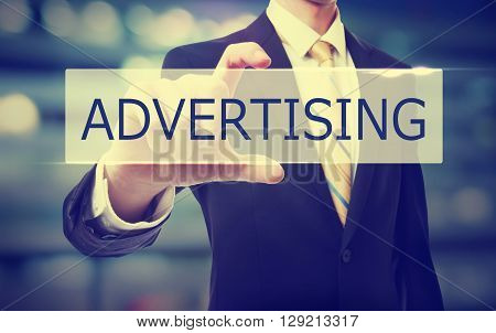 Business Man Holding Advertising Concept
