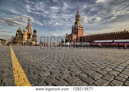 MOSCOW, RUSSIA - APRIL 25 - St. Basils Cathedral and Kremlin on Red Square in April 25, 2016