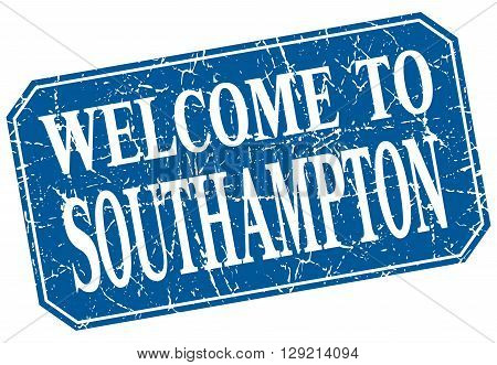 welcome to Southampton blue square grunge stamp