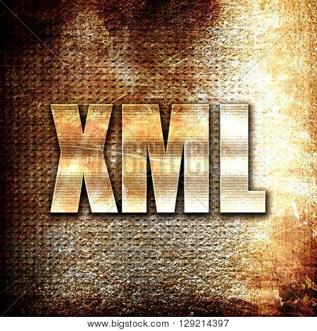 xml, rust writing on a grunge background