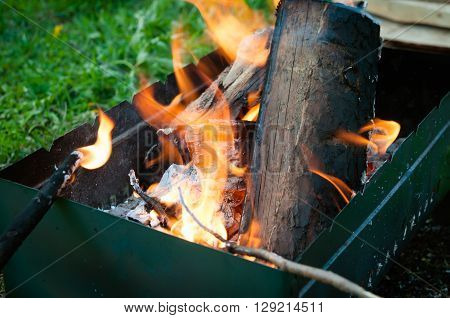 In brazier burn wooden logs a picnic in the summer