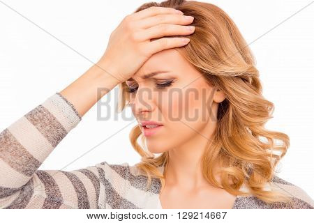 Attractive Young Woman With Migraine Touching Her Head