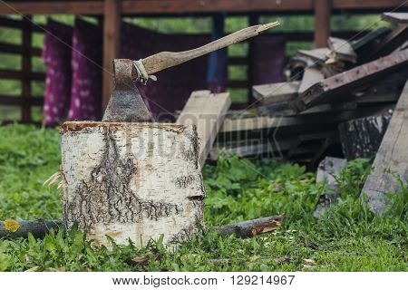 Axe on log with green grass and wood