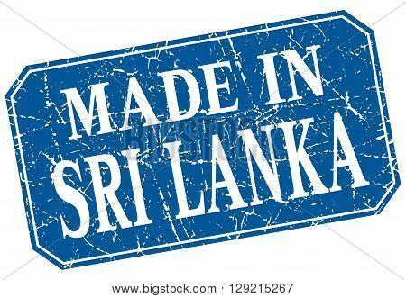 made in Sri Lanka blue square grunge stamp