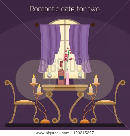 Restaurant table for two lovers. Romantic date. Book a table. Dinner in the restaurant. Evening cafe interior. Cartoon style. vector illustration