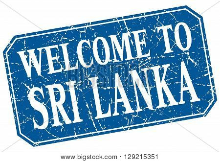 welcome to Sri Lanka blue square grunge stamp