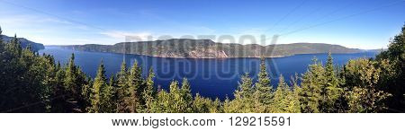 Panoramic picture of Saguenay fjord, Quebec, Canada.