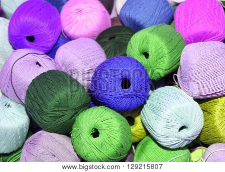 Heap Of Many Balls Of Soft Soft Wool For Sale In The Wholesaler's Store