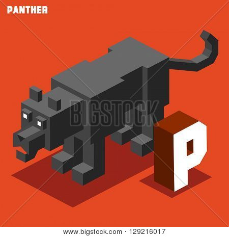 P for panther. Animal Alphabet collection. vector illustration