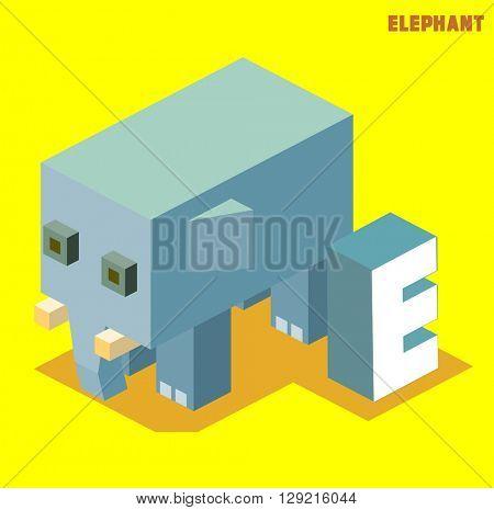 E for elephant, Animal Alphabet collection. vector illustration