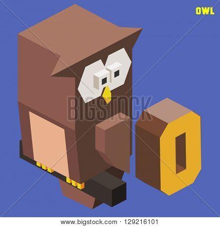 O for Owl, Animal Alphabet collection. vector illustration