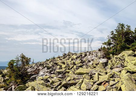 Green mossy stones on  background of cloudy sky
