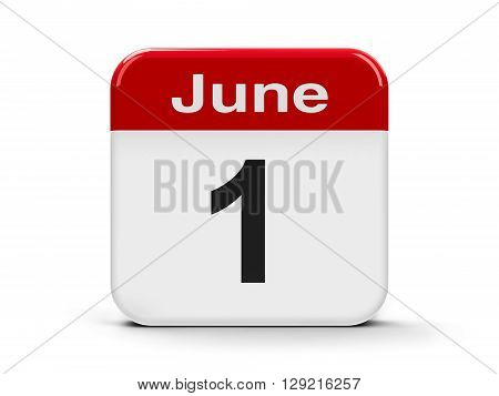 Calendar web button - The First of June - International Children's Day and Global Day of Parents and World Milk Day three-dimensional rendering 3D illustration