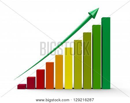 Color business graph with green arrow up three-dimensional rendering 3D illustration