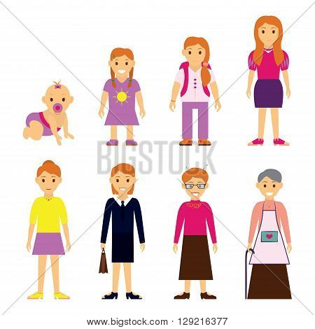 Users generation at different ages. Woman, aging - baby, child, teenager, young, adult, elderly, isolated on white background - vector illustration.