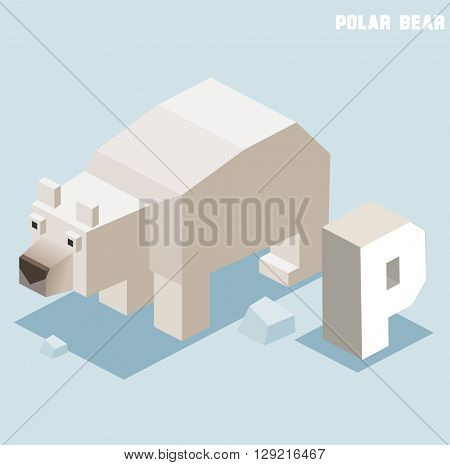 P for Polar bear. Animal Alphabet collection. vector illustration