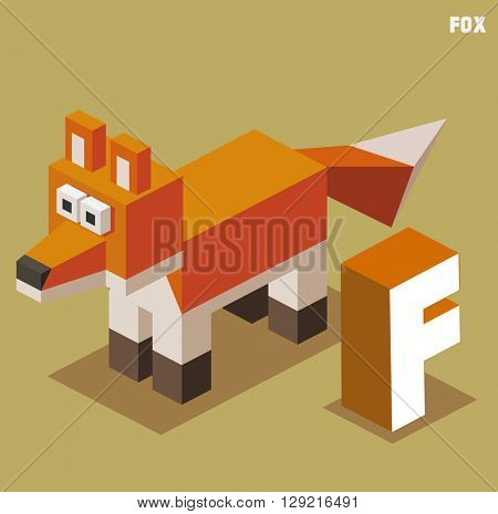 F for Fox. Animal Alphabet collection. vector illustration