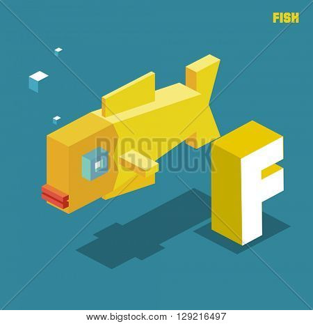 F for fish, Animal Alphabet collection. vector illustration