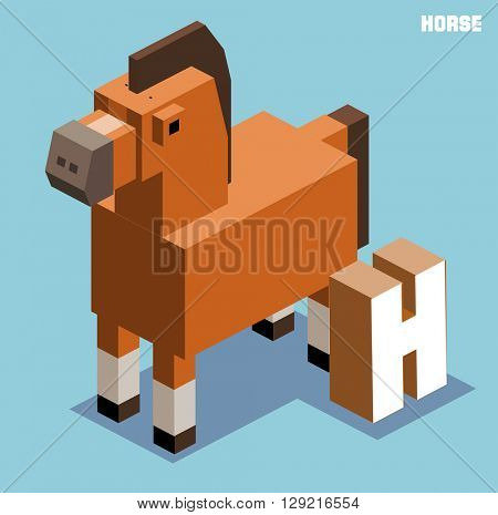 H for horse, Animal Alphabet collection. vector illustration