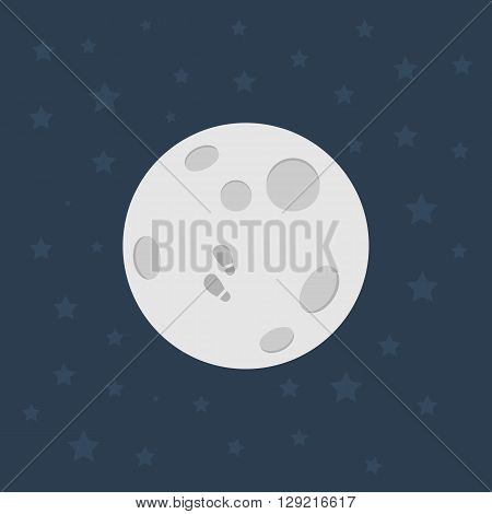 Moon, Flat design illustration, Moon icon - stock vector