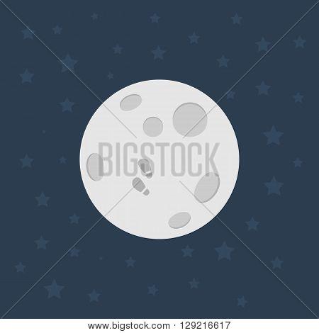 Moon, Flat design illustration, Moon icon - stock vector