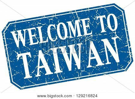 welcome to Taiwan blue square grunge stamp
