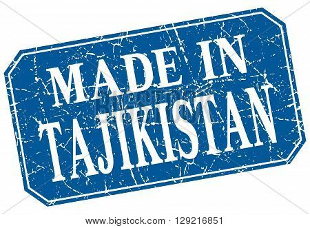 made in Tajikistan blue square grunge stamp