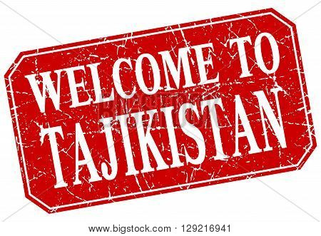 welcome to Tajikistan red square grunge stamp