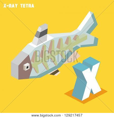 X for X-ray tetra. Animal Alphabet collection. vector illustration