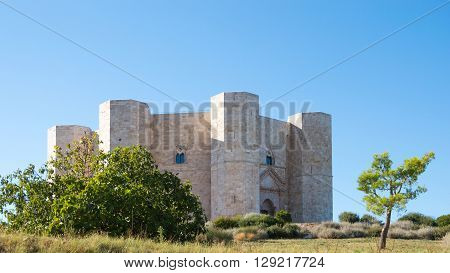 Castel del Monte in Puglia Italy - Octagonal ancient medieval architecture in italian travel