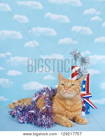 Ginger tabby cat laying down on a blue surface with lighter blue background with clouds wrapped in 4th of July red white and blue tinsel with pseudo fire crackers stars and stripes behind him