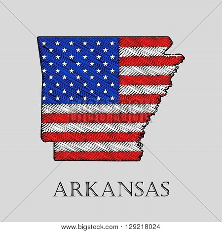 State Arkansas in scribble style - vector illustration. Abstract flat map of Arkansas with the imposition of US flag.