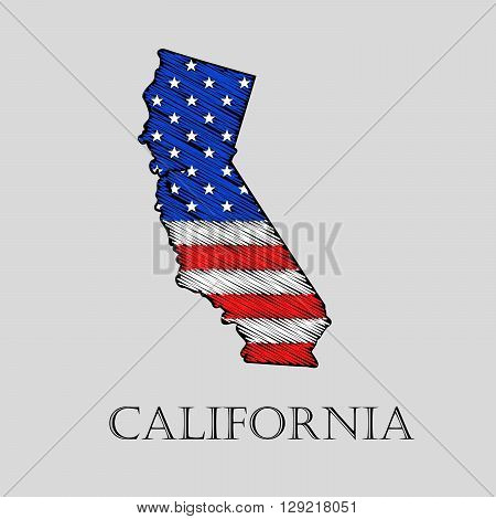 State California in scribble style - vector illustration. Abstract flat map of California with the imposition of US flag.
