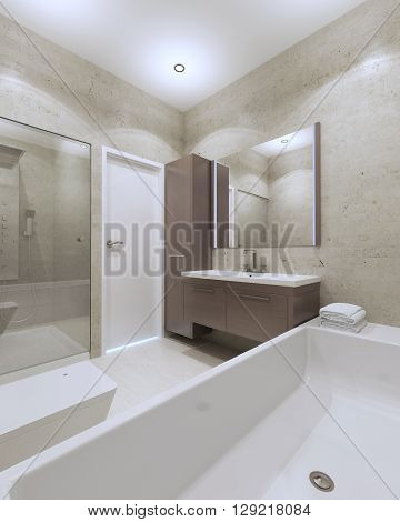 Idea of minimalist bathroom in private house. 3D render