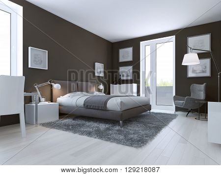 Contemporary bedroom design. Taupe matt walls double dressed bed and entrance to balcony. 3D render