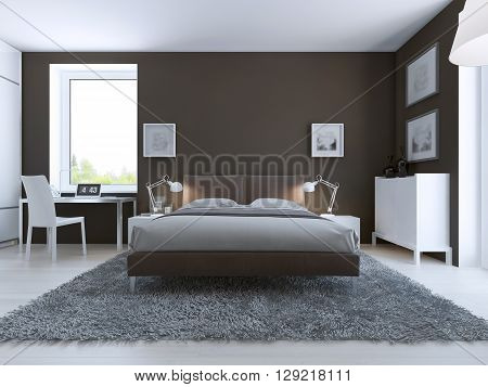Elegant bedroom interior. Large dressed bed in center on gray carpet of wool white furniture and dark taupo walls. 3D render