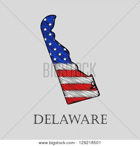 State Delaware in scribble style - vector illustration. Abstract flat map of Delaware with the imposition of US flag.