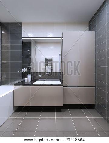The unique design of the bathroom. 3D render