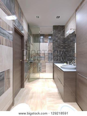 Large bathroom modern interior. One of the most unusual solutions mixing the tiles on the walls. 3D render