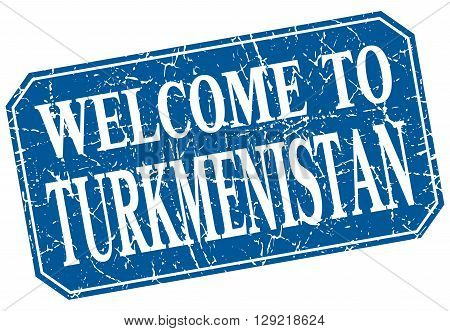 welcome to Turkmenistan blue square grunge stamp