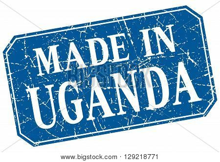made in Uganda blue square grunge stamp