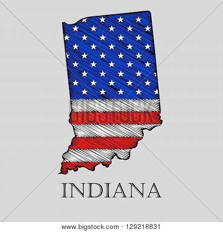 State Indiana in scribble style - vector illustration. Abstract flat map of Indiana with the imposition of US flag.